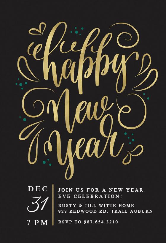 New Years Invitation 2019 Elegant New Years Swirls New Year Invitation Template Free