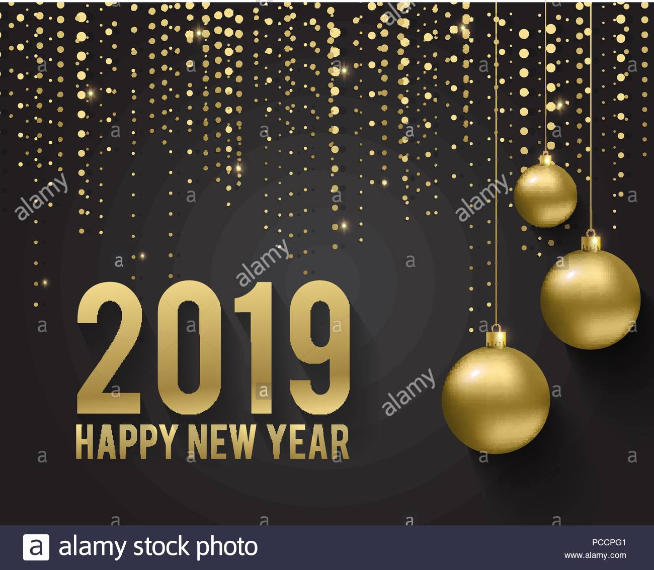 greeting card invitation with happy new year 2019 and christmas metallic gold christmas balls decoration shimmering shiny confetti on a black bac image