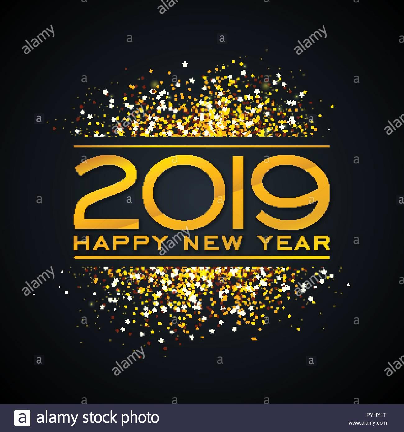 New Years Invitation 2019 Unique 2019 Happy New Year Illustration Avec De L or Et La Baisse