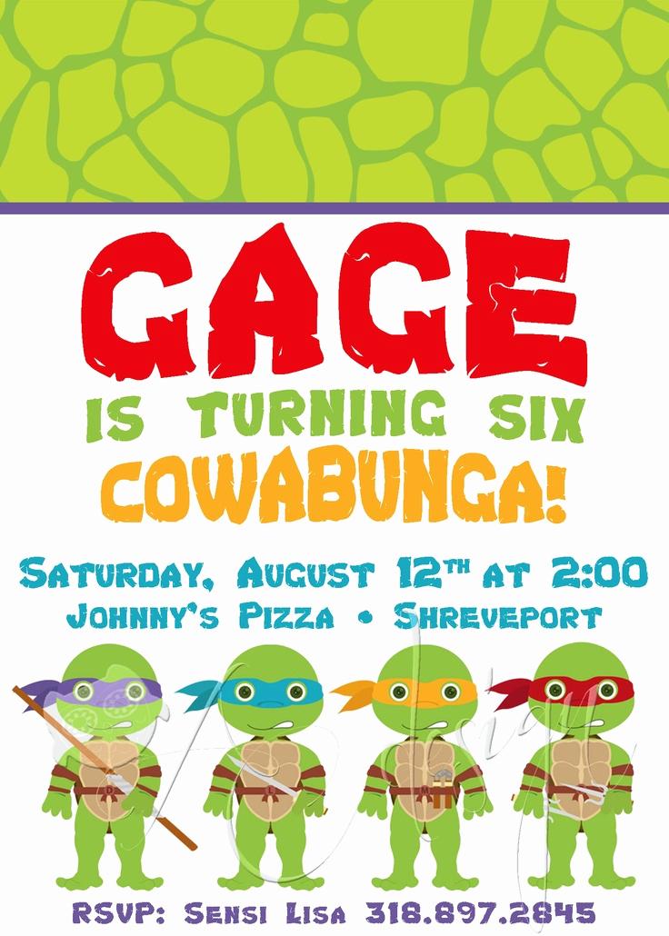 Ninja Turtle Birthday Invitation Elegant Diy Ninja Turtle Invitation