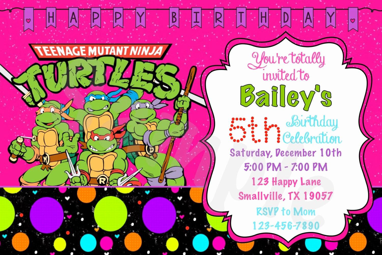 Ninja Turtle Birthday Invitation Elegant Girl Teenage Mutant Ninja Turtle Birthday Invitation Nt05