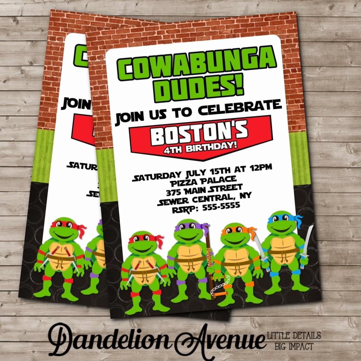 Ninja Turtle Birthday Invitation Elegant Ninja Turtle Birthday Party Invitations