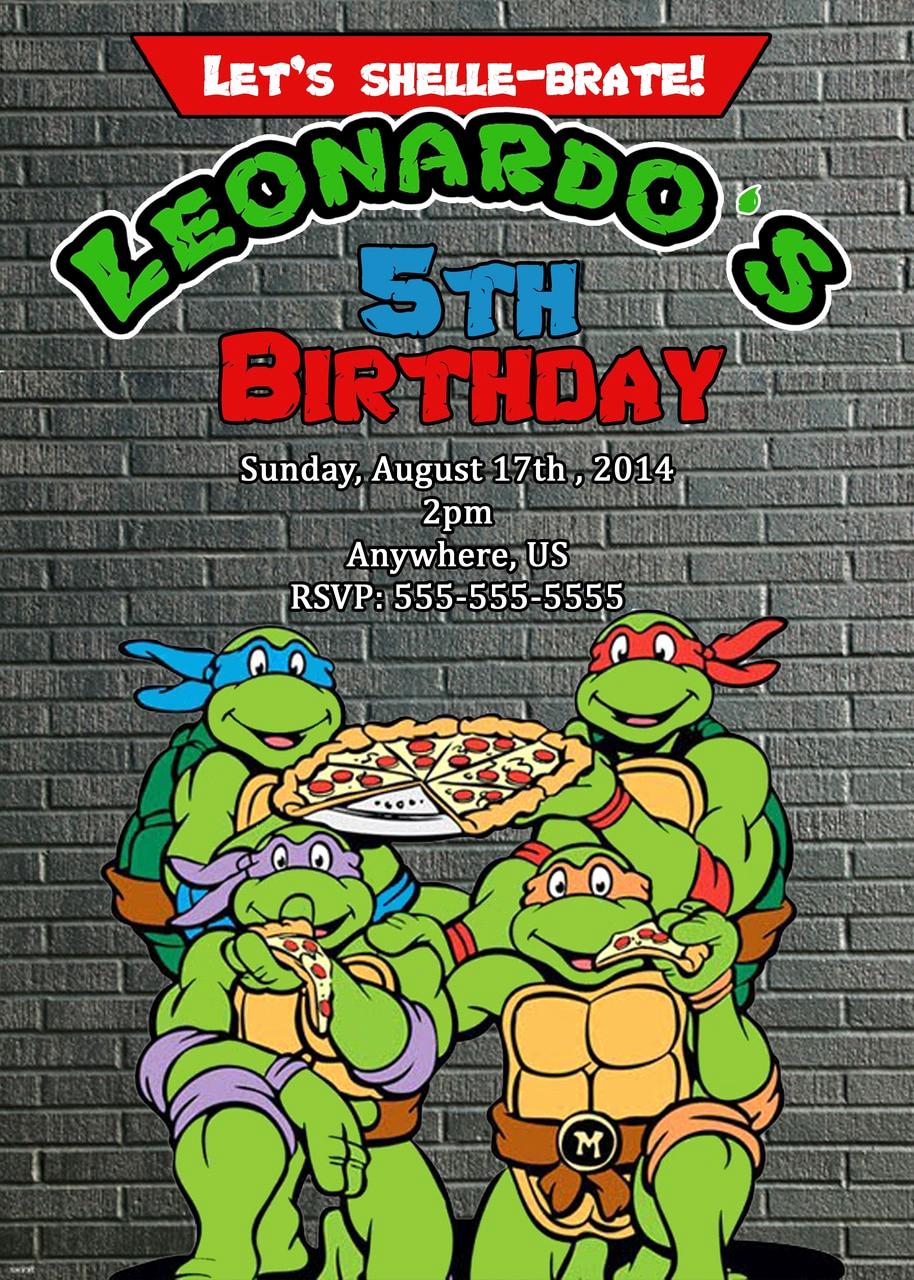 Ninja Turtle Birthday Invitation Elegant Tmnt Teenage Mutant Ninja Turtles Movie Birthday
