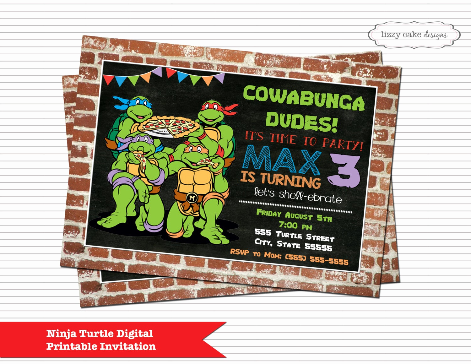 Ninja Turtle Birthday Invitation Fresh Teenage Mutant Ninja Turtle Birthday Invitation Ninja Turtle