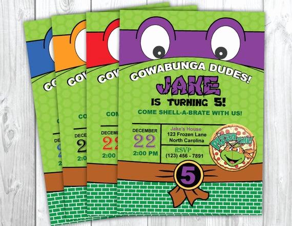 Ninja Turtle Birthday Invitation Inspirational Teenage Mutant Ninja Turtles Invitation by Yourmaineventprints