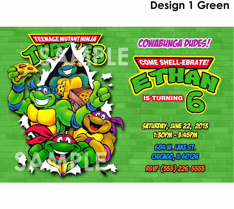Ninja Turtle Birthday Invitation Inspirational Tmnt Invitation Printable Teenage Mutant Ninja Turtles