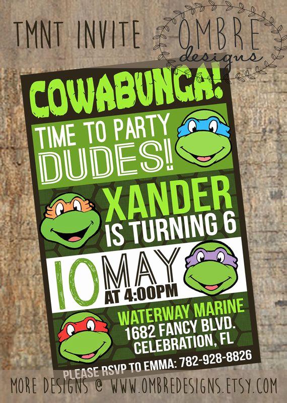 ninja turtle invitations