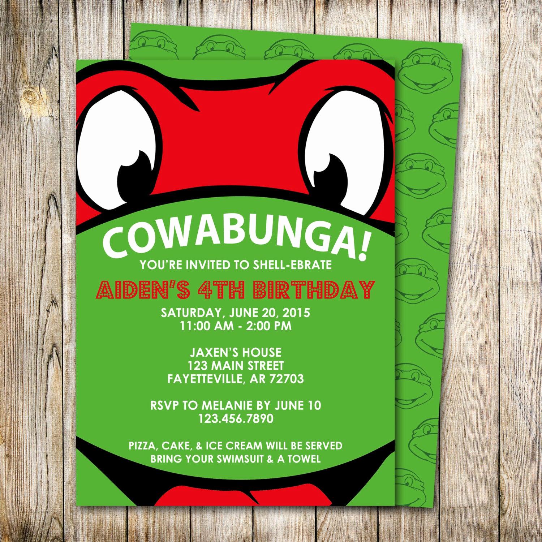 Ninja Turtle Birthday Invitation Luxury Ninja Turtles Birthday Invitation Raphael Invitation Tmnt