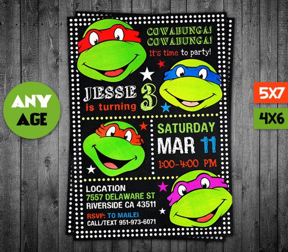 Ninja Turtle Birthday Invitation New Ninja Turtle Invitation Ninja Turtles Ninja Turtles Party