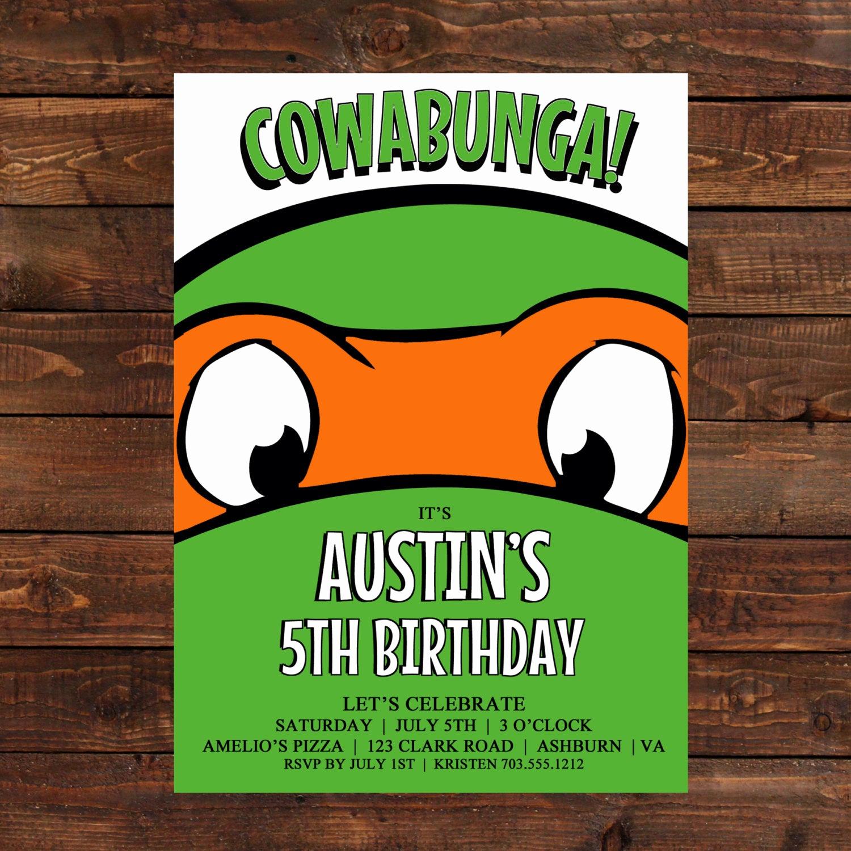 Ninja Turtle Birthday Invitation New Teenage Mutant Ninja Turtle Invitation by Lulupaperprints