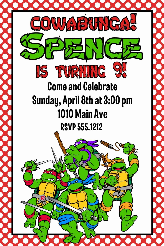 Ninja Turtle Birthday Invitation New Teenage Mutant Ninja Turtles Birthday Party Invitation