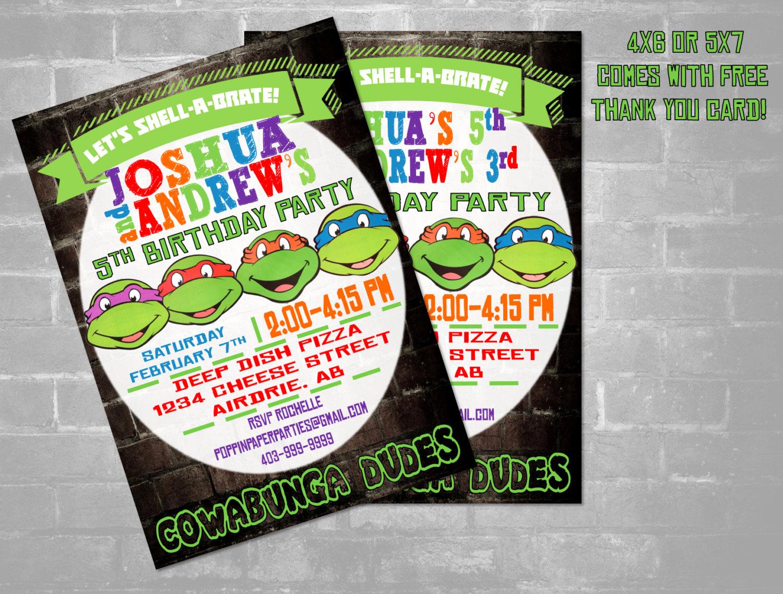 Ninja Turtle Birthday Invitation New Tmnt Ninja Turtle Invitation Twins Ninja Turtles Invitation