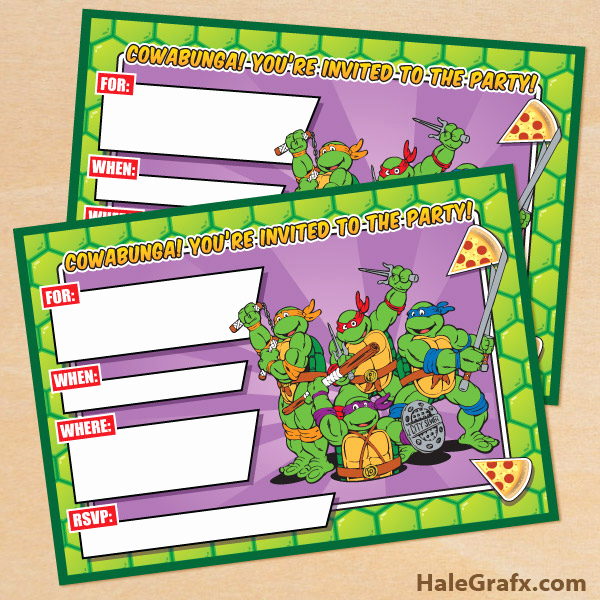 Ninja Turtle Birthday Invitation Template Awesome Free Printable Retro Tmnt Ninja Turtle Birthday Invitation