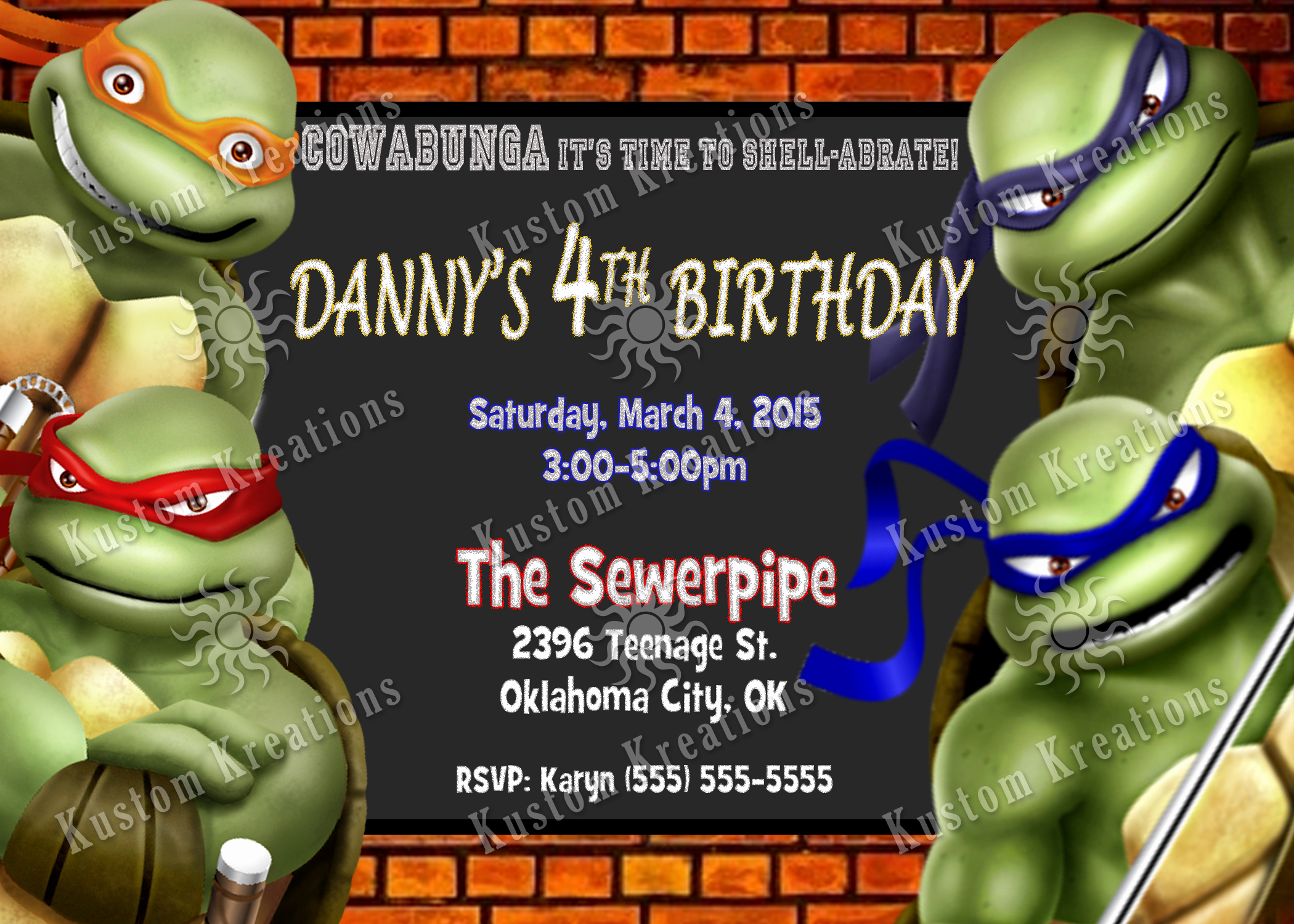 Ninja Turtle Birthday Invitation Template Awesome Teenage Mutant Ninja Turtles Birthday Invitations 2014