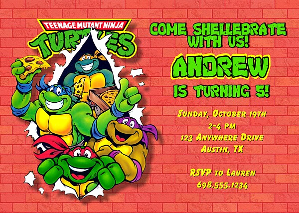Ninja Turtle Birthday Invitation Template Awesome Teenage Mutant Ninja Turtles Birthday Party Invitations