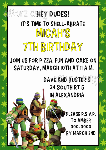 Ninja Turtle Birthday Invitation Template Beautiful Teenage Mutant Ninja Turtles Tmnt Personalized by