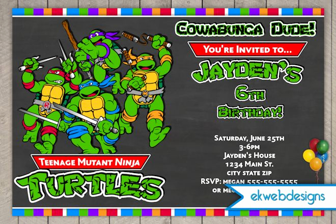 Ninja Turtle Birthday Invitation Template Best Of Free Printable Ninja Turtle Birthday Party Invitations