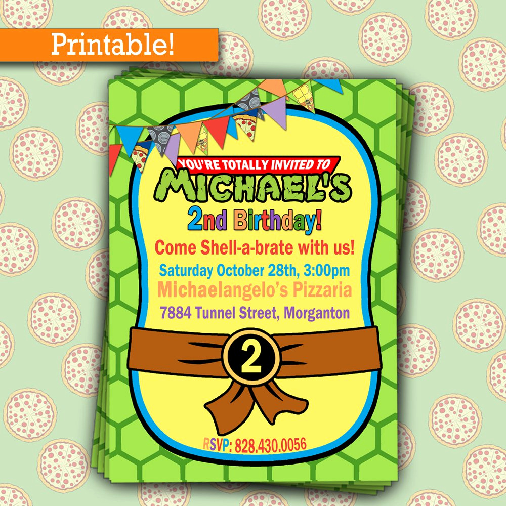 Ninja Turtle Birthday Invitation Template Elegant Printable Teenage Mutant Ninja Turtles Birthday