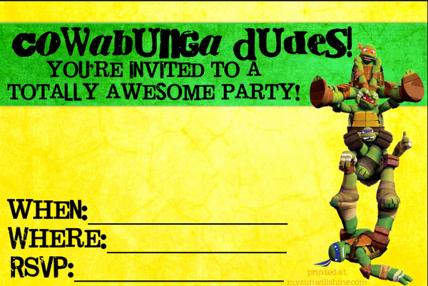 Ninja Turtle Birthday Invitation Template Elegant totally Awesome Teenage Mutant Ninja Turtles Party Ideas