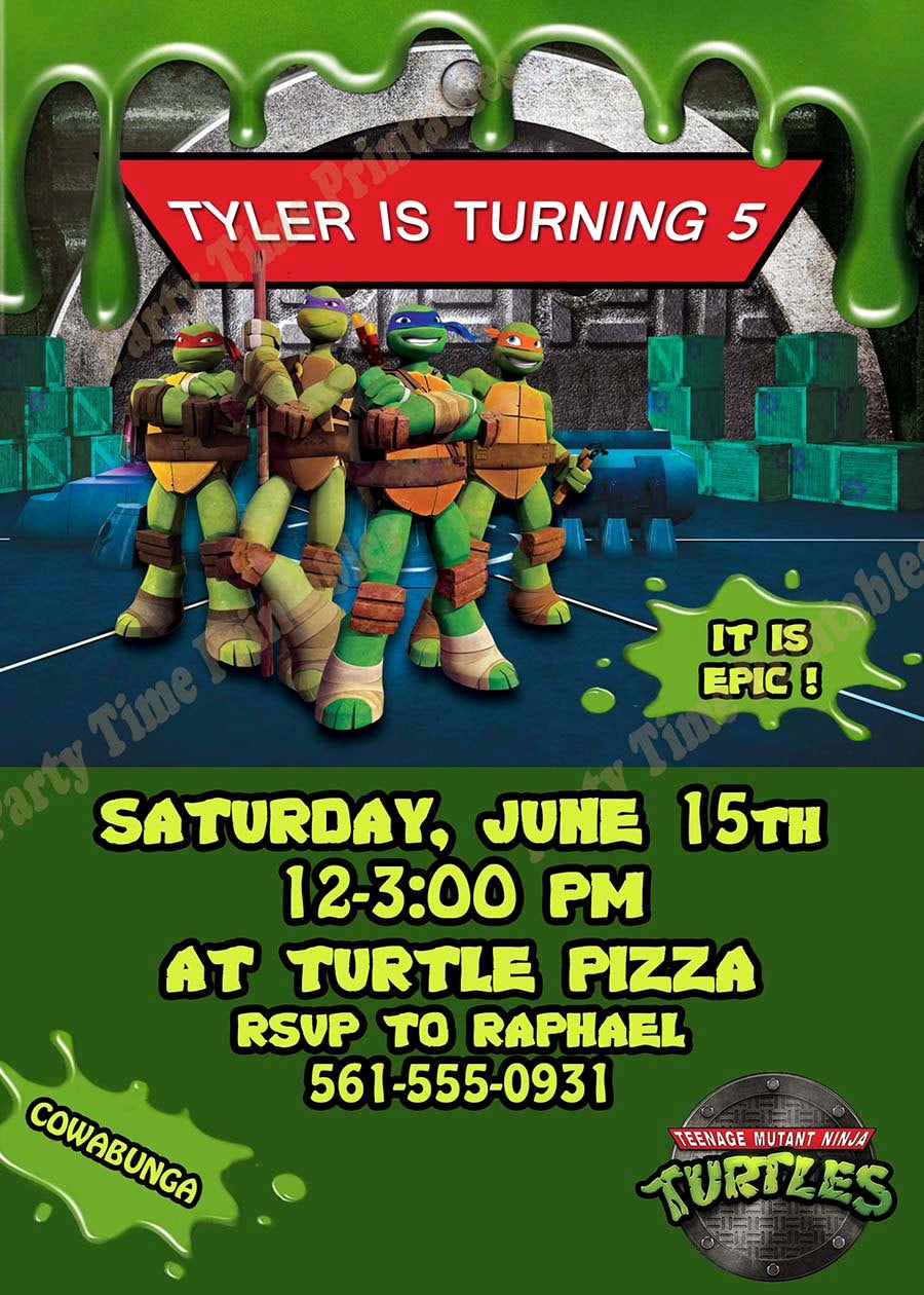 Ninja Turtle Birthday Invitation Template Fresh Items Similar to Teenage Mutant Ninja Turtles Invitation