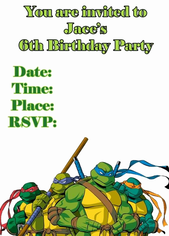 Ninja Turtle Birthday Invitation Template Fresh Teenage Mutant Ninja Turtle Bday Invitation