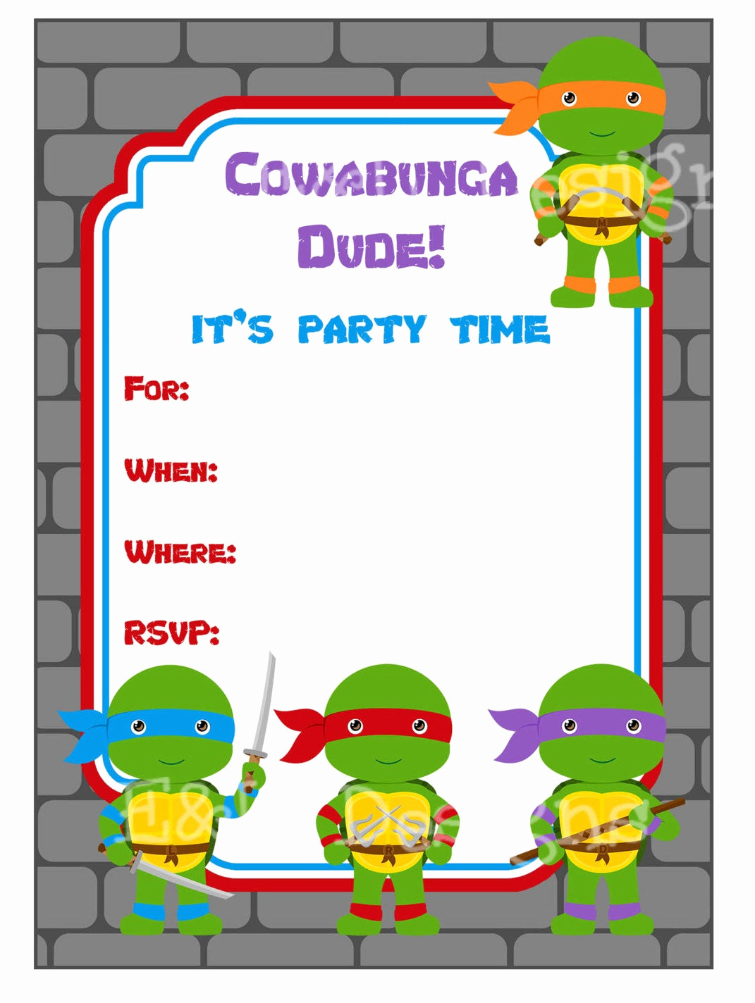 ninja turtle party invitation ninja