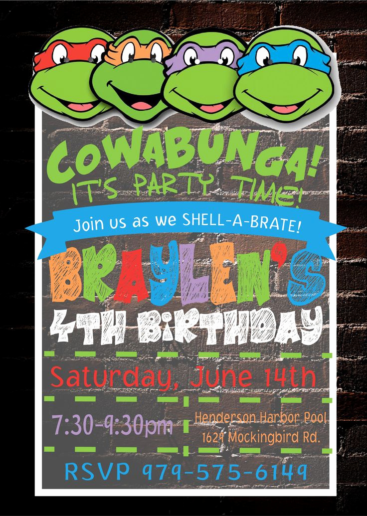 Ninja Turtle Birthday Invitation Template Lovely Best 25 Ninja Turtle Invitations Ideas On Pinterest