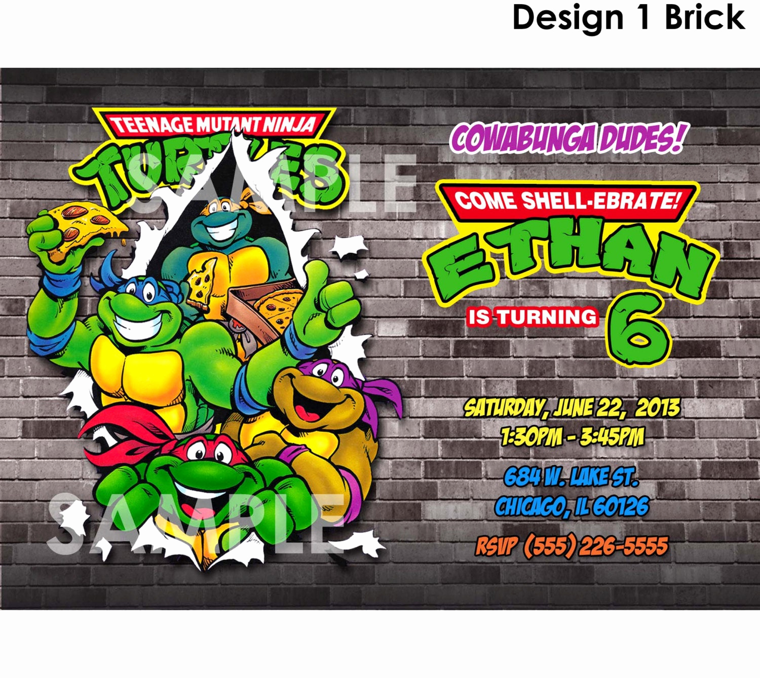 Ninja Turtle Birthday Invitation Template Lovely Teenage Mutant Ninja Turtles Invitation Printable Tmnt