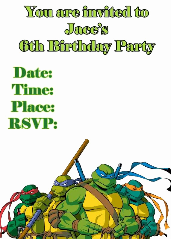Ninja Turtle Birthday Invitation Template Luxury Ninja Turtle Invitation Templates