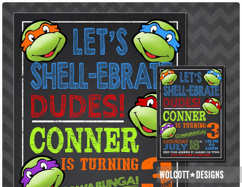 Ninja Turtle Birthday Invitation Unique Ninja Turtles Invitation Tmnt Invite Chalkboard Ninja