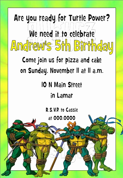 Ninja Turtle Invitation Template Elegant 72 Best Teenage Mutant Ninja Turtle Invitations Images On