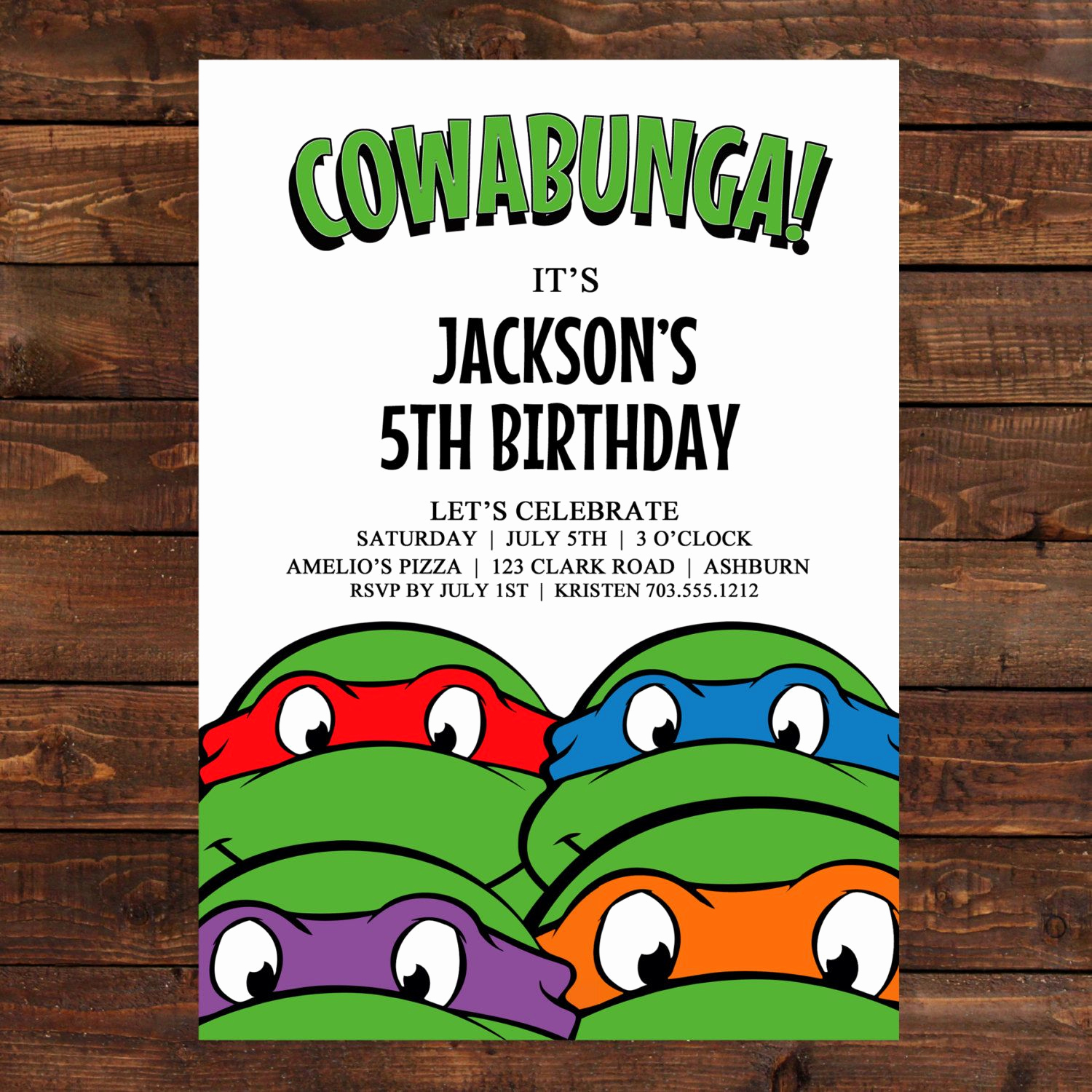 Ninja Turtle Invitation Template Elegant Teenage Mutant Ninja Turtles Birthday Party Invitations