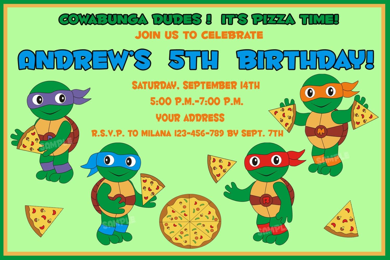 Ninja Turtle Invitation Template Free Inspirational Tmnt Birthday Invitation Ninja Turtles Birthday Invitation