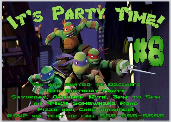 Ninja Turtle Invitation Template Free Lovely Items Similar to Teenage Mutant Ninja Turtles Birthday
