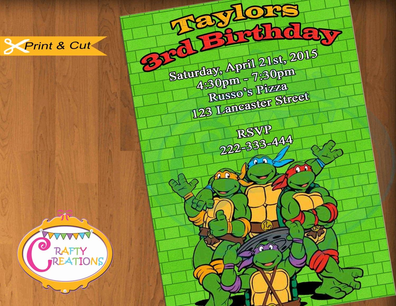 Ninja Turtle Invitation Template Free Luxury Ninja Turtles Invitation Tmnt Invitation by Craftycreationsuae