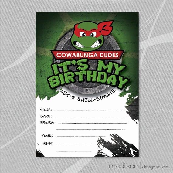 Ninja Turtle Invitation Template Free Luxury Tmnt Fill In Invitation Teenage Mutant Ninja Turtle