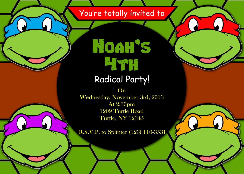 ninja turtle birthday invitations printable free