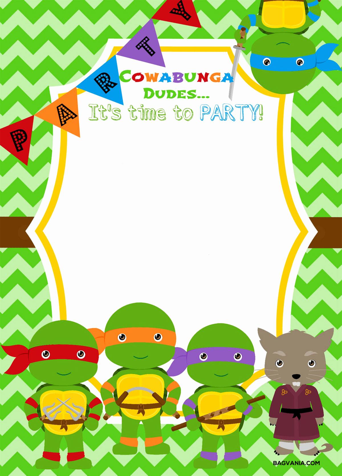 Ninja Turtle Invitation Template Inspirational Free Printable Ninja Turtle Birthday Party Invitations
