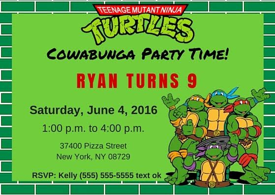 Ninja Turtle Invitation Template Lovely Free Tmnt Invitation Template Teenage Mutant Ninja