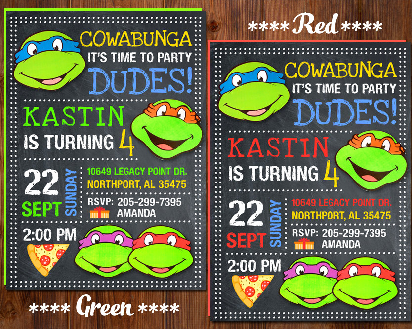 Ninja Turtle Invitation Template Lovely Ninja Turtle Invitation Ninja Turtles Party Tmnt