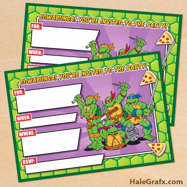 Ninja Turtle Invitation Template Luxury Free Printable Retro Tmnt Ninja Turtle Birthday Invitation