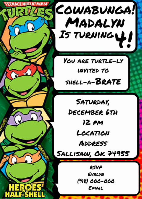 Ninja Turtle Invitation Template Luxury Teenage Mutant Ninja Turtles Invitation Tmnt
