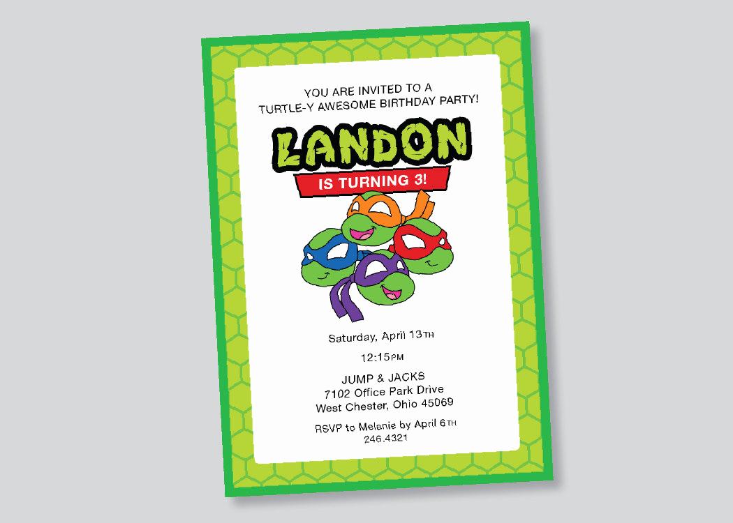 Ninja Turtle Invitation Template New Teenage Mutant Ninja Turtles Birthday Invitation by