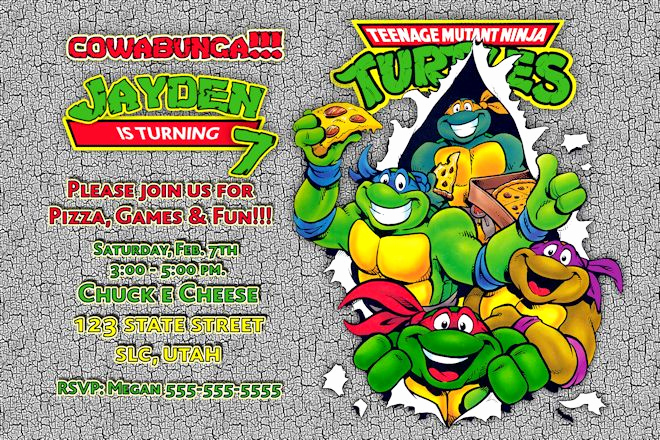 Ninja Turtle Invitation Templates Awesome Teenage Mutant Ninja Turtles Birthday Invitations Free