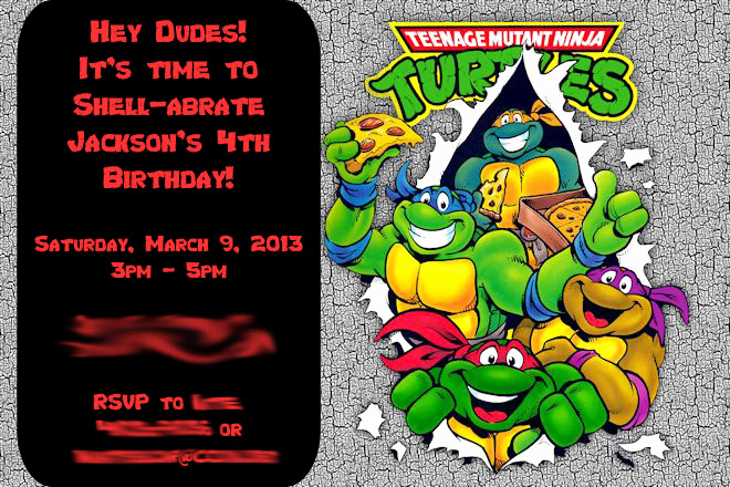 Ninja Turtle Invitation Templates Elegant Another Babin Creation Tmnt Birthday Invitation