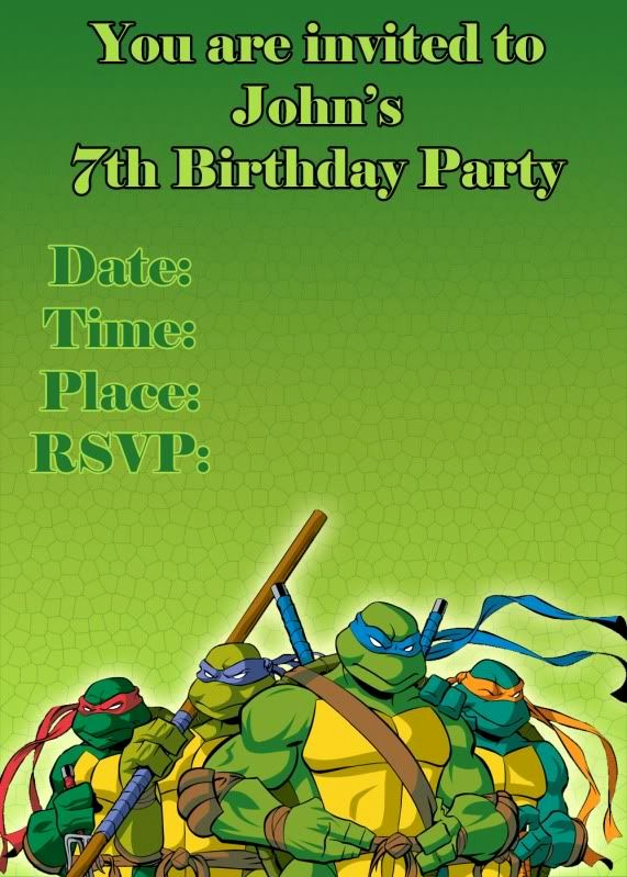 Ninja Turtle Invitation Templates Elegant Teenage Mutant Ninja Turtle Bday Invitation
