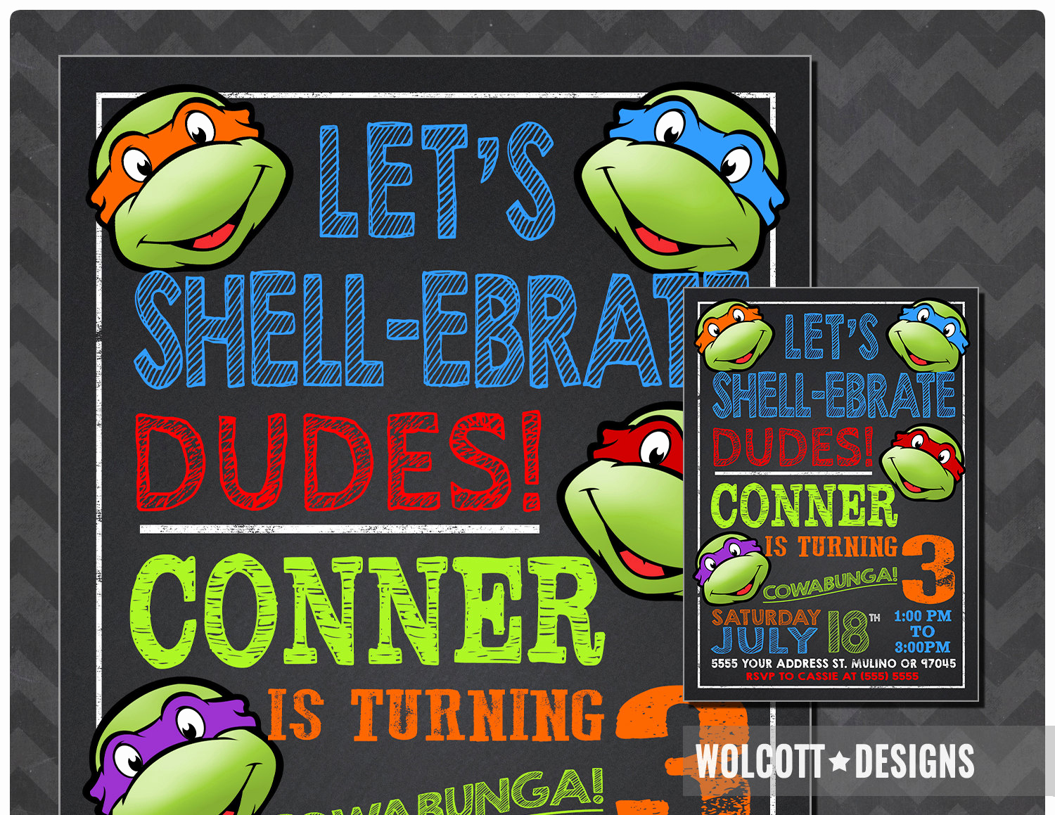 Ninja Turtle Invitation Templates Free Beautiful Ninja Turtles Invitation Tmnt Invite Chalkboard Ninja