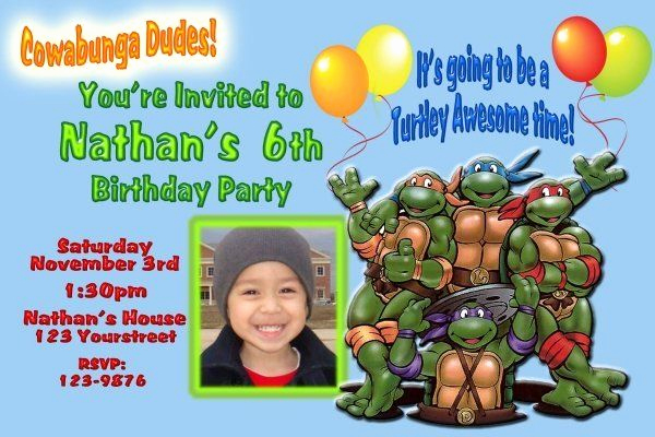 Ninja Turtle Invitation Templates Free Beautiful Teenage Mutant Ninja Turtles Birthday Invitations Template