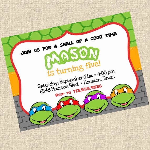 Ninja Turtle Invitation Templates Free Fresh Printable Diy Ninja Turtles Inspired Invitations Party