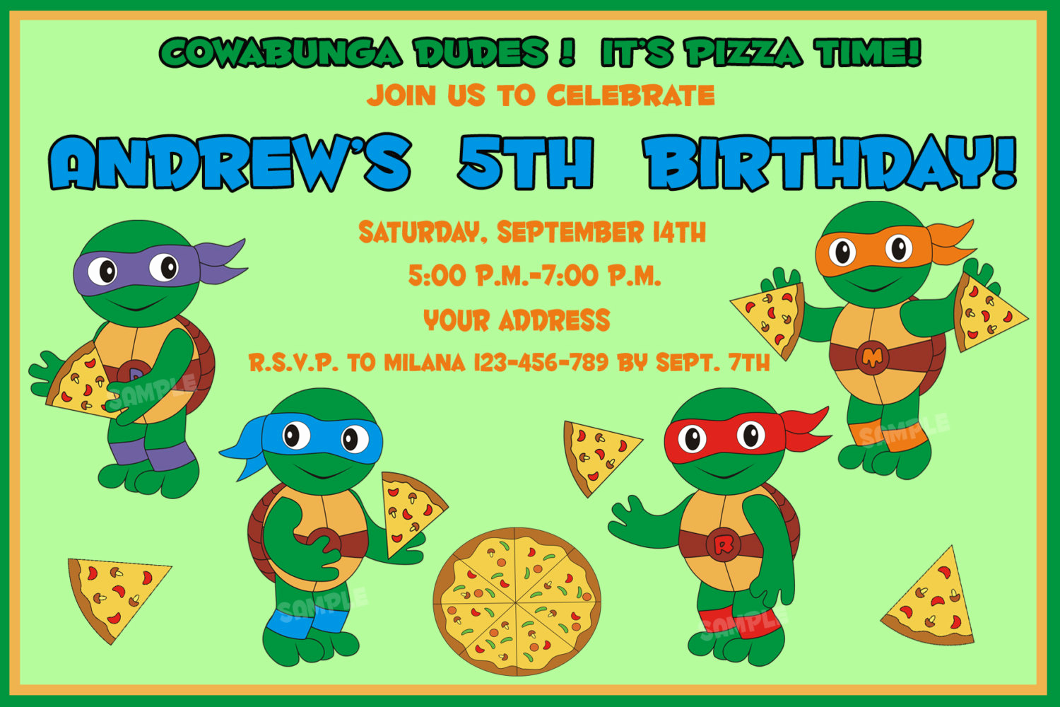 Ninja Turtle Invitation Templates Free Fresh Tmnt Birthday Invitation Ninja Turtles Birthday Invitation